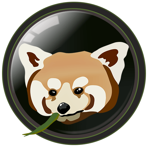 Chasing Wildlife - logo image. Stylized red panda with a bamboo leaf within a camera lens. Text: chasing Wildlife Camera's not guns